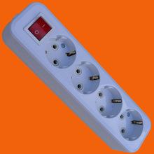 德标接线板 四位欧式移动插板 (E8004ES)