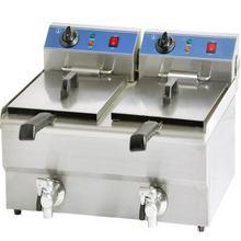 厂家直销燃气电力双缸油炸炉连柜座油炸锅电炸锅商用双缸阿
