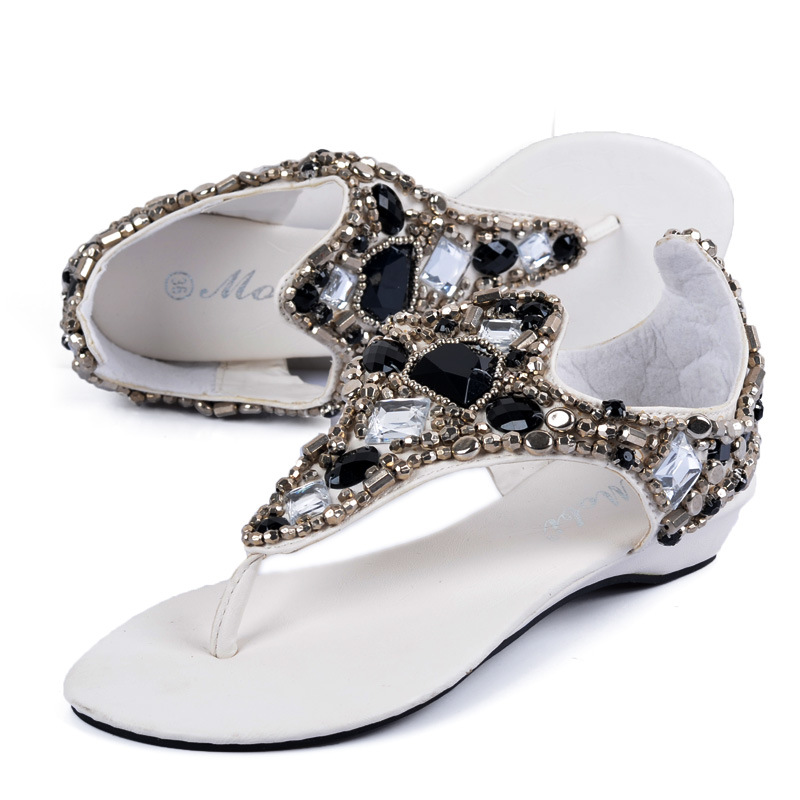 undertakes to diamond wedges shoes beaded national wind sandals