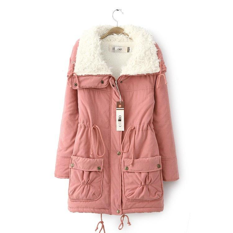 韩版加厚女工装棉衣女装中长款羊羔绒棉衣冬季大衣大码外套批发