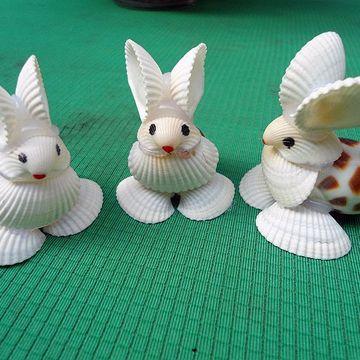 海南特色工艺品 贝壳小动物 白色小兔子 贝壳摆件 地摊热卖货源