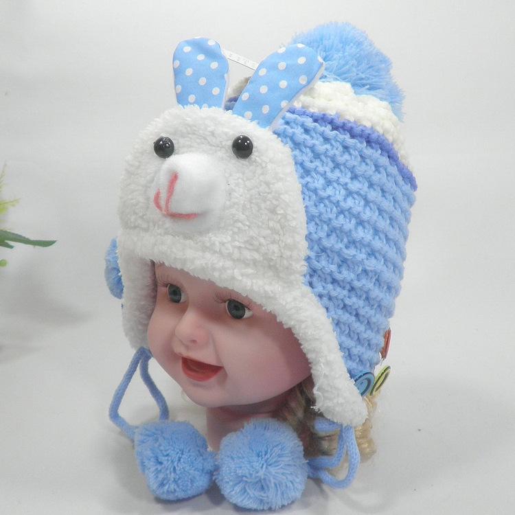 批发秋冬新款儿童针织毛线帽子可爱兔子加绒毛线帽宝宝保暖帽子