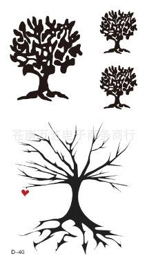现货纹身贴纸批发 创意爱心幸运树组图 酷炫纹身 d-40