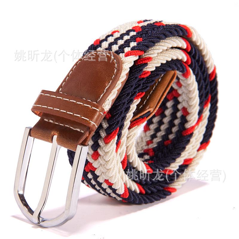 新款39色弹力编织松紧腰带批发厂家直销现货男士女式皮带帆布腰带