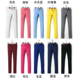 The whole process of playing the white cotton feet pencil pants female Korean version was thin elastic candy colored bas