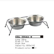 中号架子碗 不锈钢双碗 架子狗碗猫碗 狗食盆HQI-008A