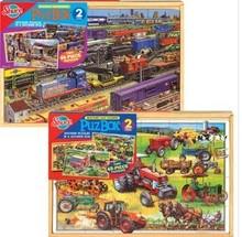 美国shure盒装超值拼图 木制儿童益智拼板盒装48片2合1拼图玩具