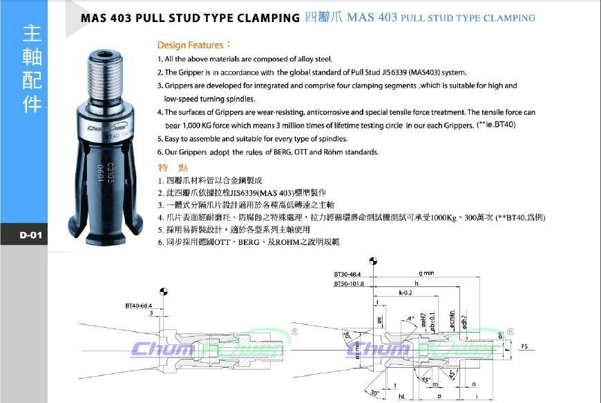 台湾铨宝chumpower BT50-45°/60°/90° 四瓣爪 外牙