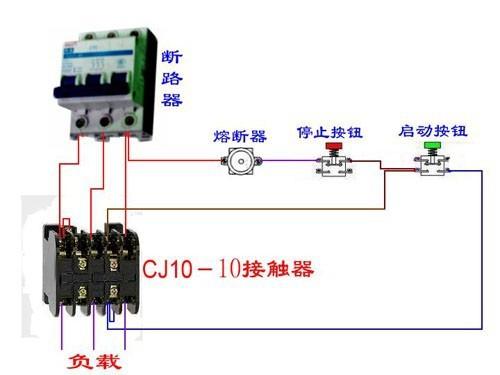 二:急停按钮开关配合熔断器,接触器时的接线图(最简单的情况)