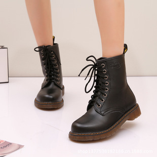 2013 new winter boots women Martin boots round in England with the help of flat leather motorcycle boots women boots