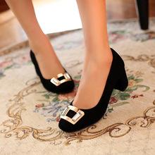 2014春季新款女鞋 歐美大牌范粗跟方扣羊皮淺口女式單鞋 高跟女鞋