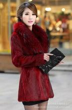 秋冬女装 仿皮草大毛领拼接中长款外套 毛毛保暖修身大衣现货特价