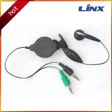 大量供应入耳式耳机 红绿色双插头电脑带唛克风伸缩入耳式耳机
