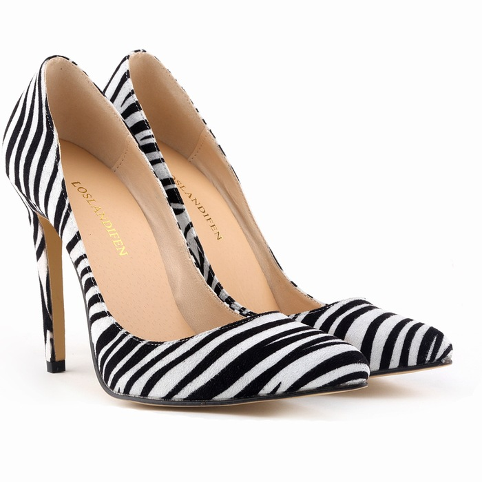 big size fashion high heel shoes Europe and America stand tide female snake leopard zebra grain thin high heels