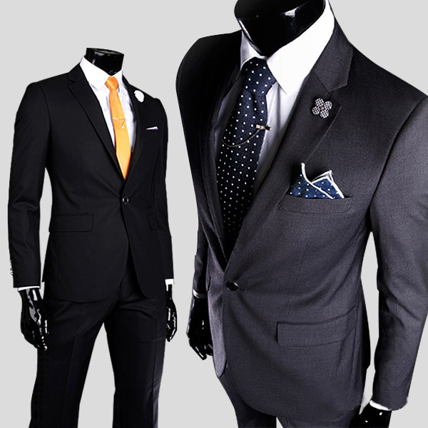 LEFT ROM High quality men one button slim small suit groom best ...