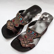 印度巴基斯坦手工牛皮拖鞋 真皮串珠 2014春夏季新款 凉拖