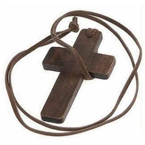 厂家直销 欧美 简约百搭皮绳木头十字架项链 绒绳毛衣链 批发 女