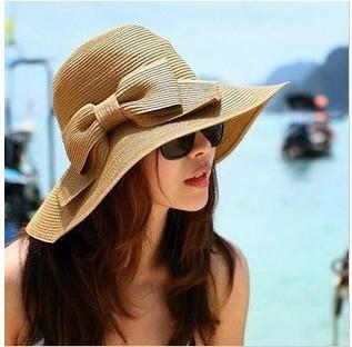 春夏天韩版蝴蝶结草帽女 可折叠沙滩帽遮阳帽 大沿防晒出游帽