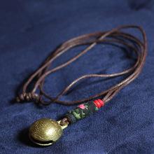 民族饰品批发文艺风复古毛衣链铃铛长款简洁项链可收缩NO.3064