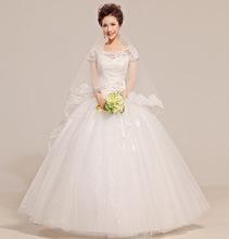 新款韓版婚紗 鏤空蕾絲一字肩復古綁帶款甜美包肩禮服580批發