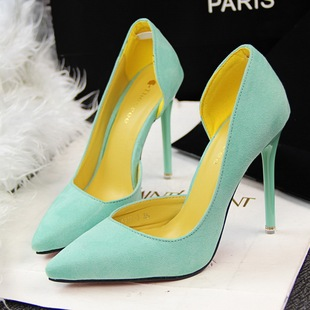 High heel with suede shallow thin mouth pointed sexy side hollow out shoes