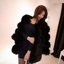 新款韩版仿皮草外套大衣 秋冬时尚气质女装 仿狐狸毛中长款风衣