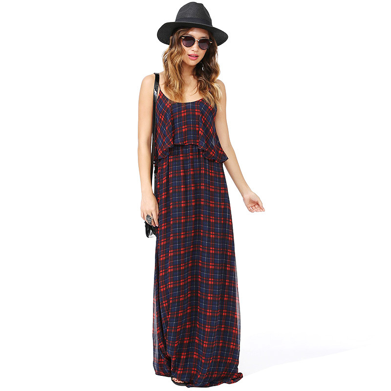 Europe and the United States fan classic plaid sexy backless low round collar dress that snow spins condol's main photo