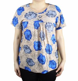 Summer middle-aged women's summer middle-aged mother dress wholesale clothing manufacturers supply short sleeve fair