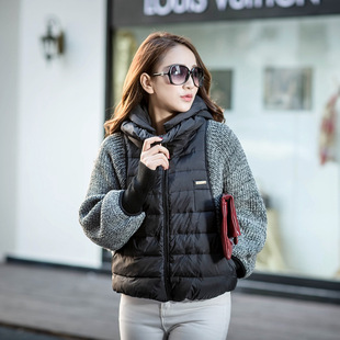 2015 European Grand Prix Women's winter coat female models bat sleeve knit short paragraph down jacket brand wholesa