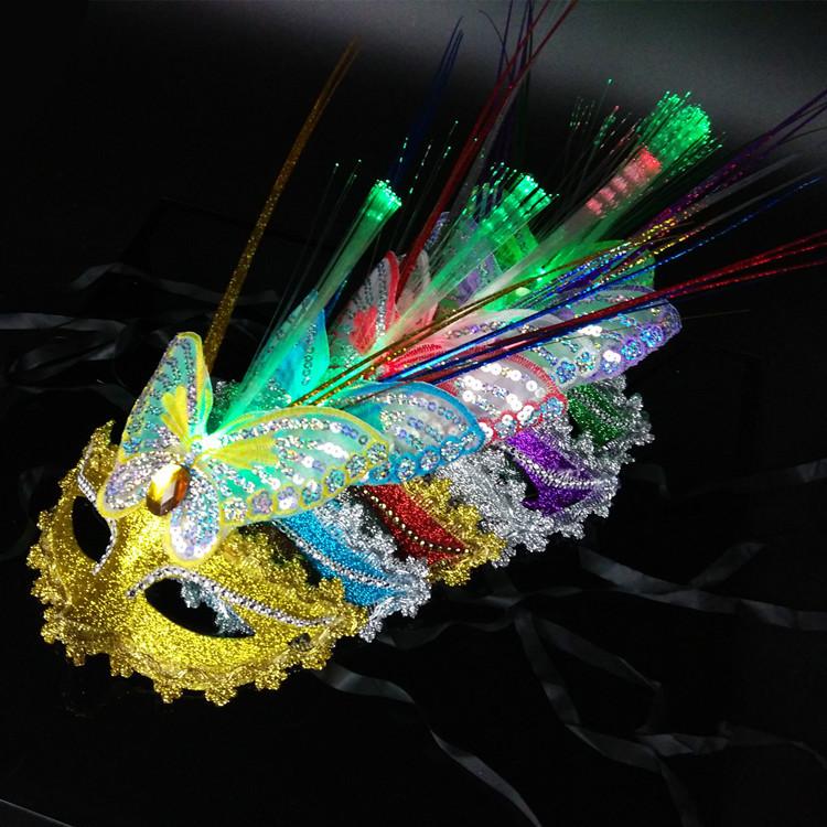 发光雨丝光纤面具金粉蝴蝶圣诞节化妆舞会派对公主面具批发