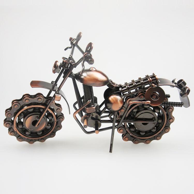 廠家直銷 鐵藝擺件金屬工藝品仿古家居裝飾品摩托車模型 創意禮品