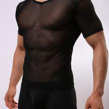 外貿爆款男士緊身性感網紗透明短袖T恤男式透氣運動短袖T恤衫E670