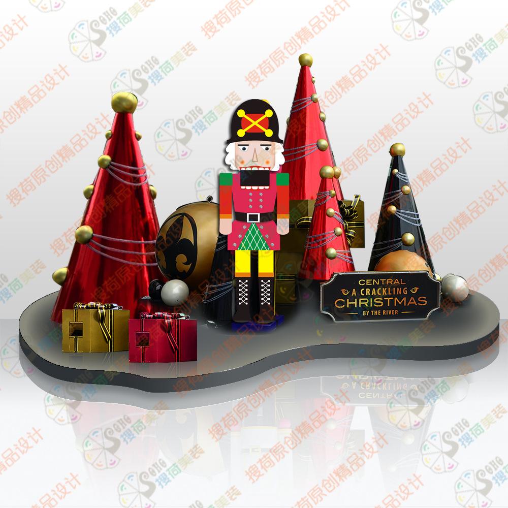 红黑扑克胡桃夹子圣诞场景 商场圣诞美陈 圣诞dp点方案 搜荷出品图片