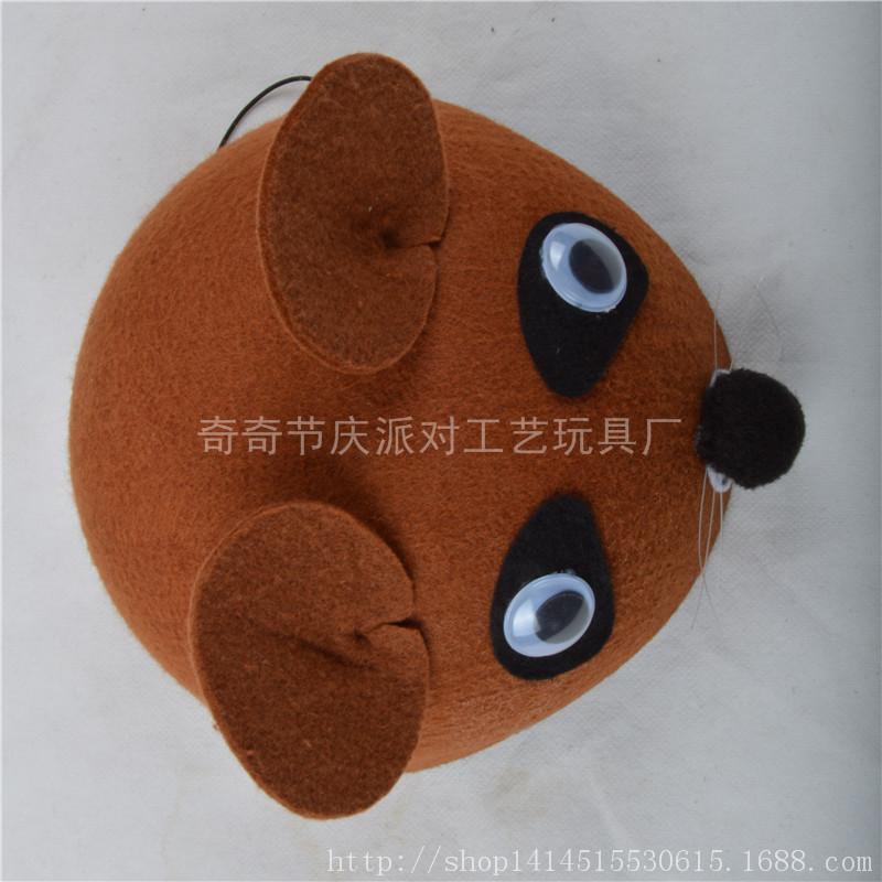 卡通无纺布动物立体帽 儿童表演道具棕熊帽子幼儿园活动头饰批发