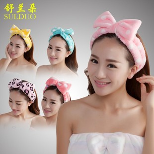 End Korea lovely big butterfly hair bands flannel wash makeup sport velvet turban headband