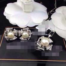925银镶天然淡水珍珠项链 耳钉 女款套装 首饰 招代理一件