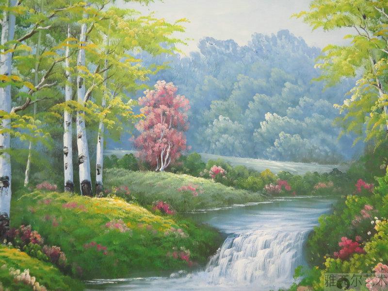 雅西尔艺术 小溪流水风景油画 树林山水风景油画60x90cm