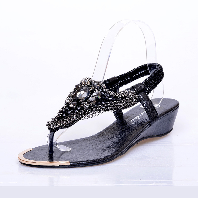 Bohemia style wedge sandals sequins shoes women's shoes's main photo