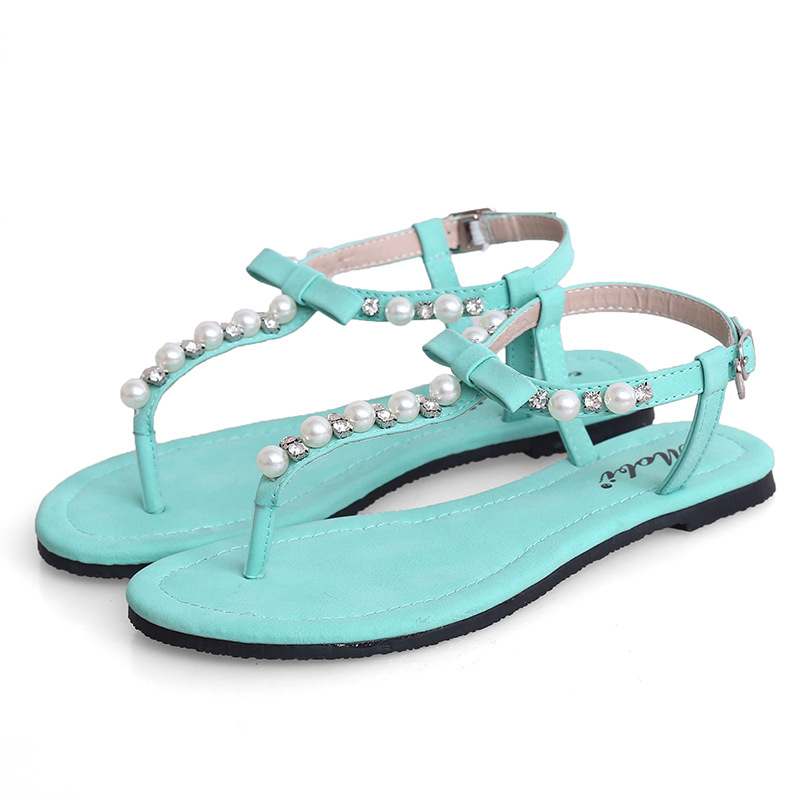 bowknot pearl herringbone summer sandals Cool and refreshing and comfortable flat sandals's main photo