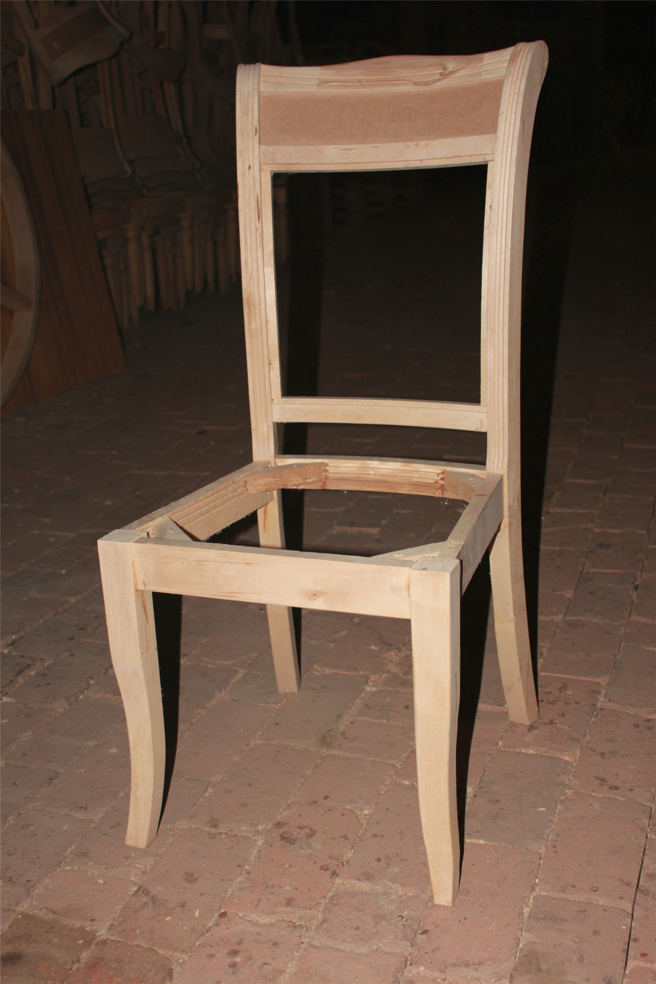 实木餐椅_厂家美式实木高档白茬酒店会所白坯椅zgzy