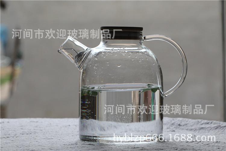 大容量加厚冷水壶透明带盖果汁杯耐热过滤玻璃凉水壶牛奶杯1800ml
