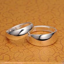銀戒指990情侶開口對戒光面戒指環 足銀男女戒指銀飾品批發