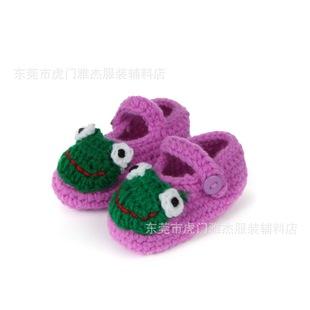 婴儿手工毛线编织鞋,宝宝绒线鞋,娃娃鞋婴儿钩针绣花鞋