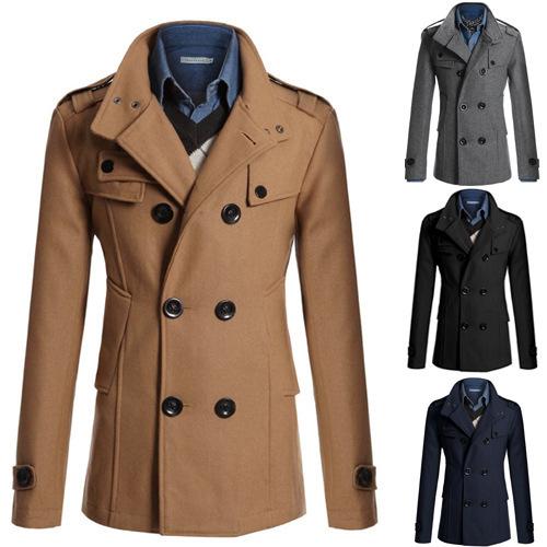 速卖通外贸新款男士毛呢大衣男修身中长款呢子风衣男外套N3