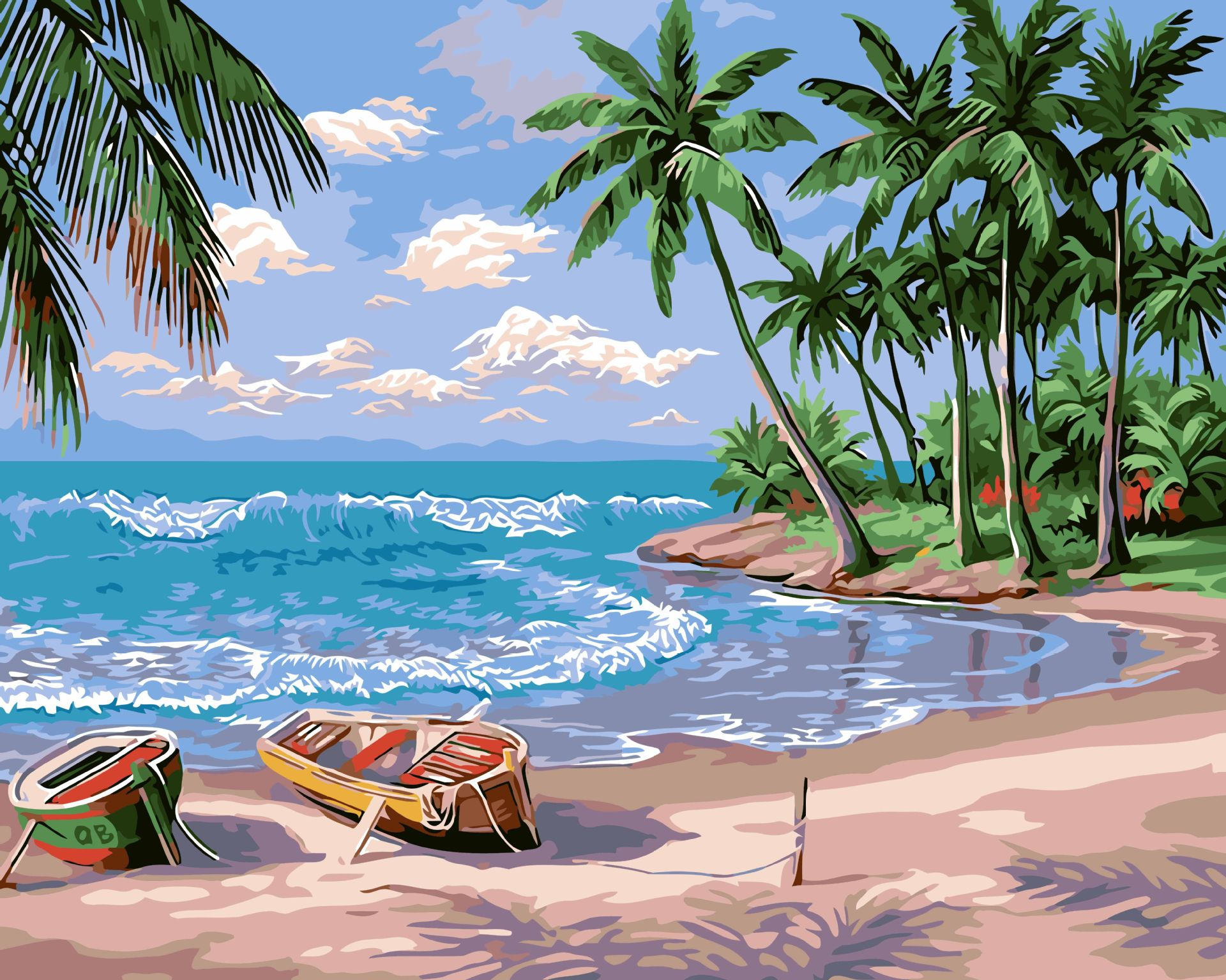 diy数字油画批发 手绘客厅风景装饰画 40*50 假日海滩