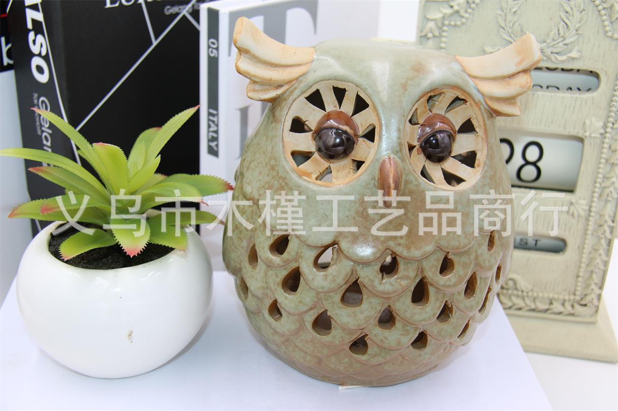 厂家销售 客厅景观工艺陶瓷 创意动物工艺陶瓷 镂空香薰猫头鹰