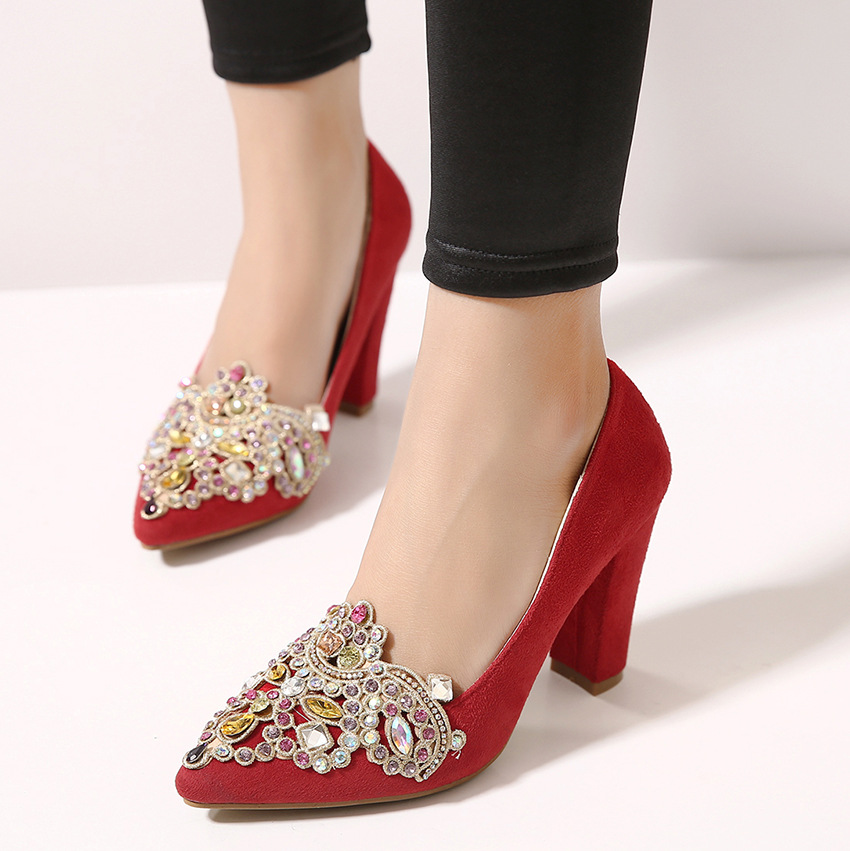 2016 new spring shoes red high heels shoes red diamond wedding shoes with pointed thick shallow mouth shoes's main photo