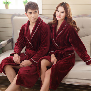 2016 spring and autumn coral velvet male Ms. couple models thick flannel pajamas nightgown tracksuit hotel bathrobe