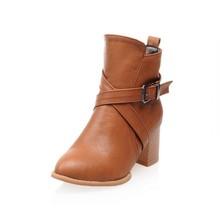 欧美尖头短筒靴大码女靴40-43码小码33码软底马丁靴高跟代理3007