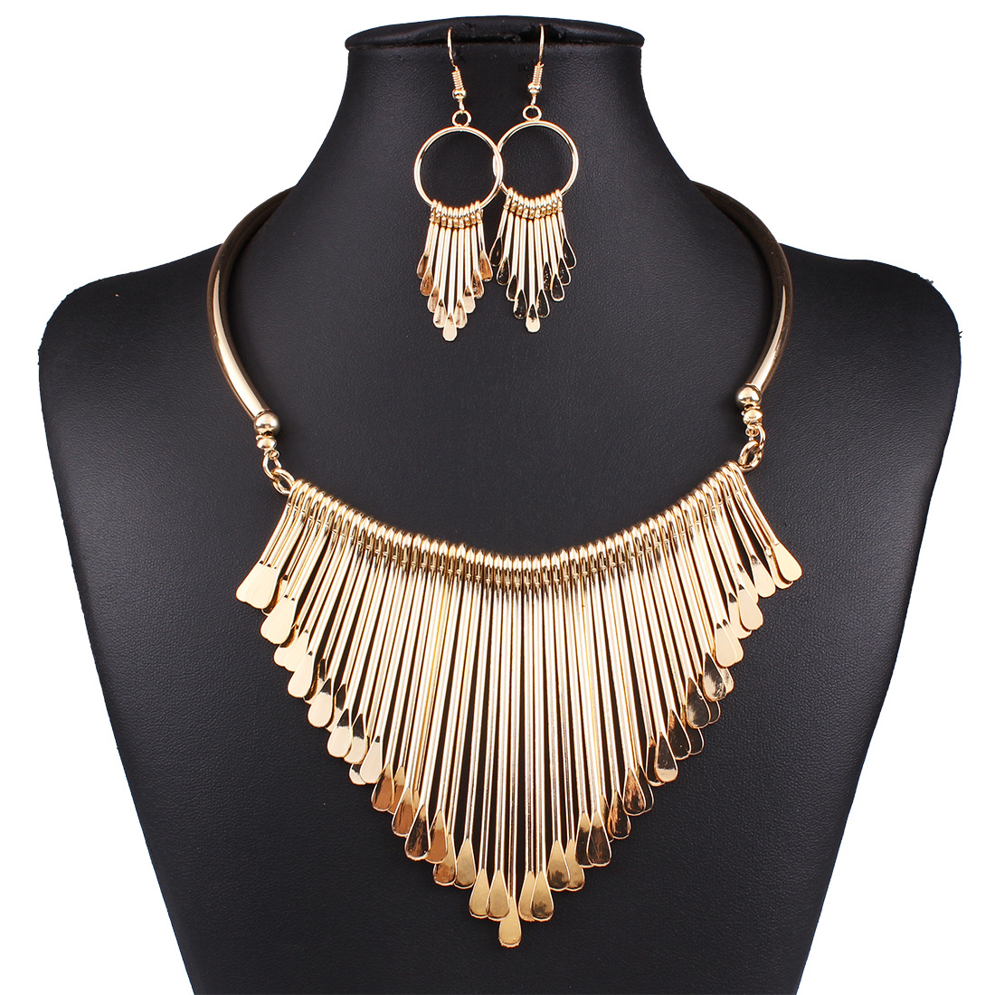 Occident wild temperament multilayer tassel necklace sets ( Golden ) NHNMD1066